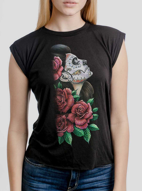 Lady of the Dead - Multicolor on Black Women's Rolled Cuff T-Shirt