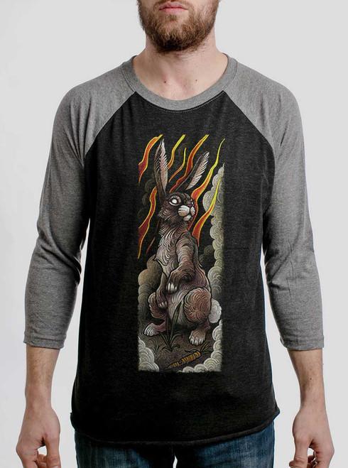 Rabbit - Multicolor on Heather Black and Grey Triblend Raglan