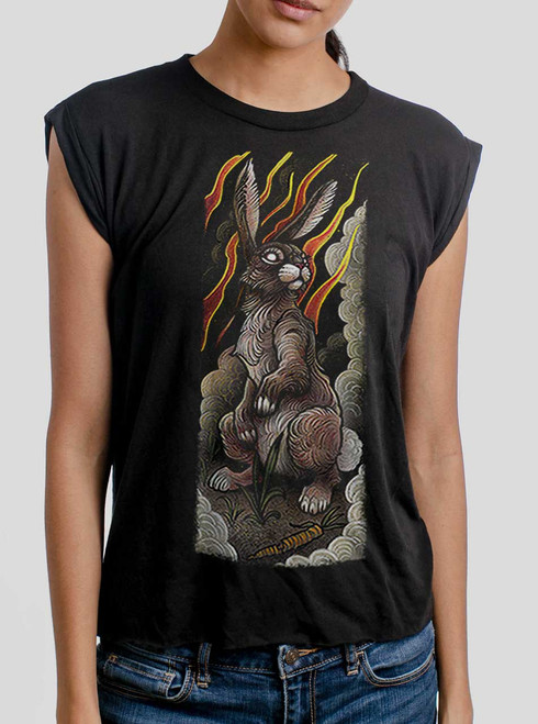 Rabbit - Multicolor on Black Women's Rolled Cuff T-Shirt