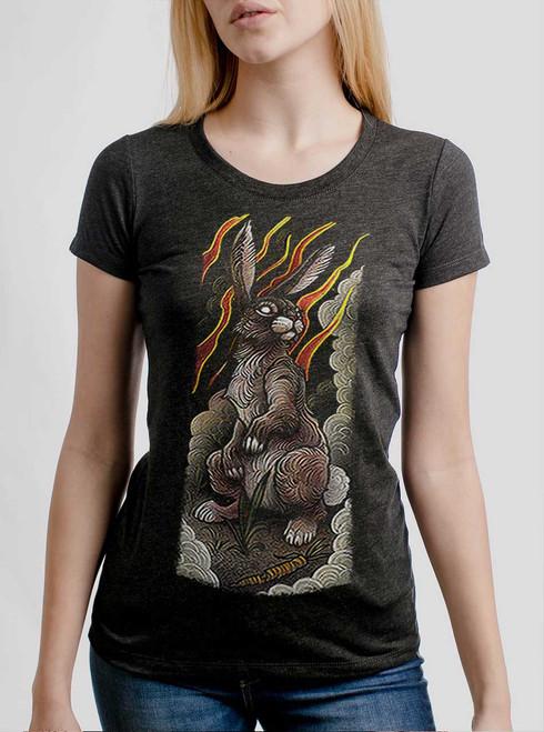 Rabbit - White on Heather Black Triblend Womens T-Shirt