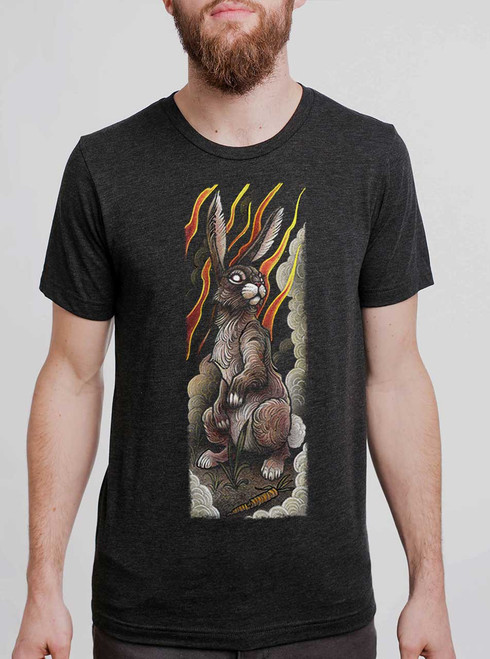 Rabbit - Multicolor on Heather Black Triblend Mens T Shirt