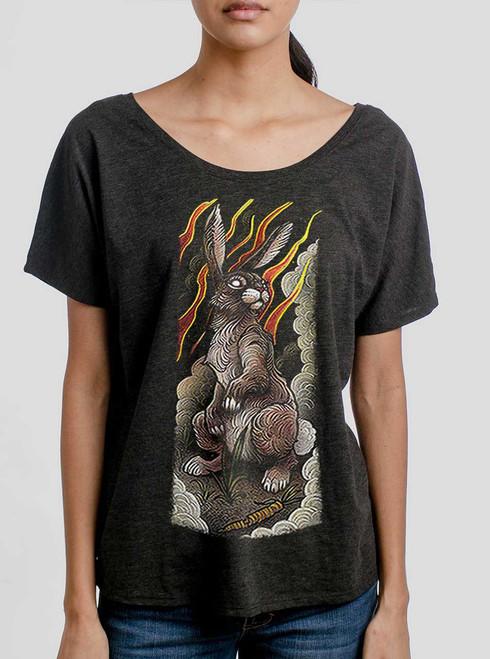 Rabbit - Multicolor on Heather Black Triblend Womens Dolman T Shirt