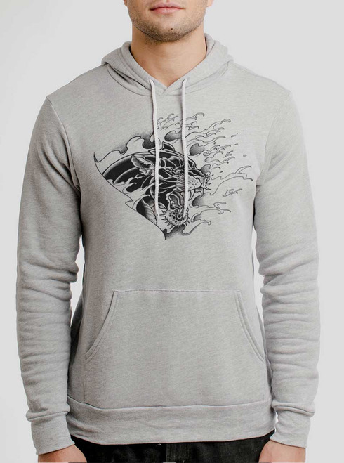 Panther - Black on Athletic Heather Men's Pullover Hoodie