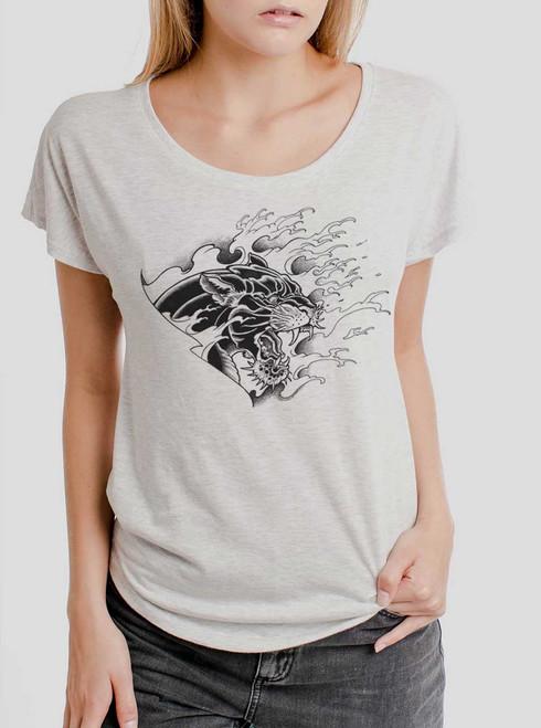 Panther - Black on Heather White Triblend Womens Dolman T Shirt