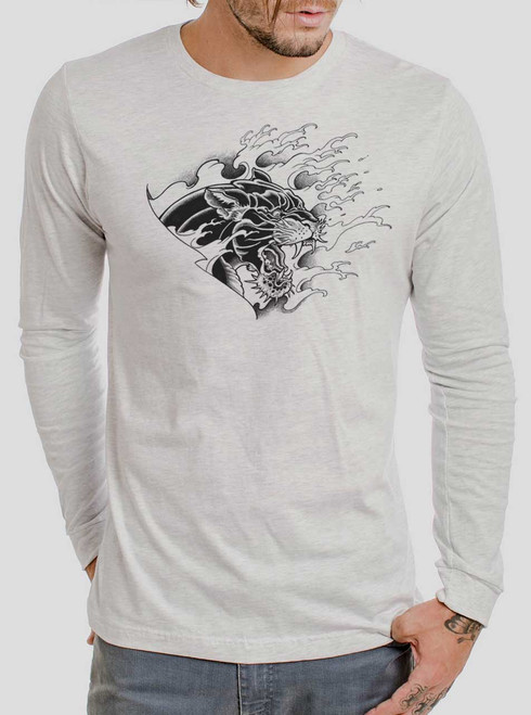 Panther - Black on Heather White Men's Long Sleeve