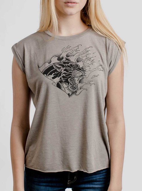 Panther - Black on Heather Stone Women's Rolled Cuff T-Shirt
