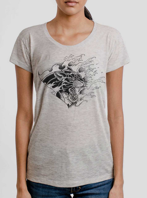 Panther - Black on Heather Oatmeal Womens Relaxed Fit T Shirt