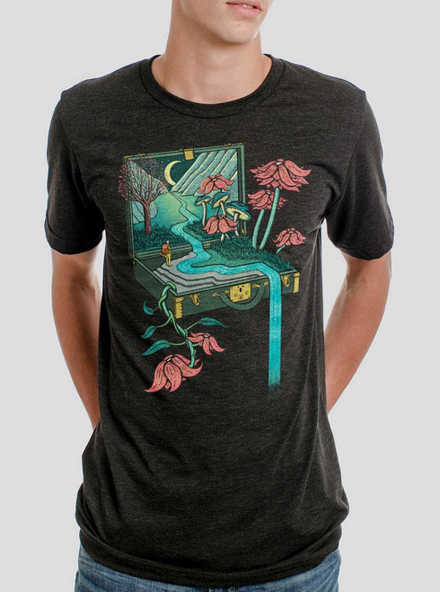 Traveling Suitcase - Multicolor on Heather Black Triblend Mens T Shirt