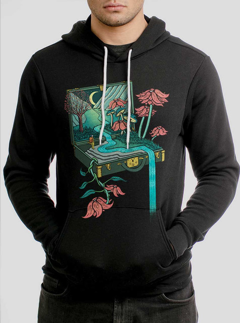 Traveling Suitcase - Multicolor on Black Men's Pullover Hoodie