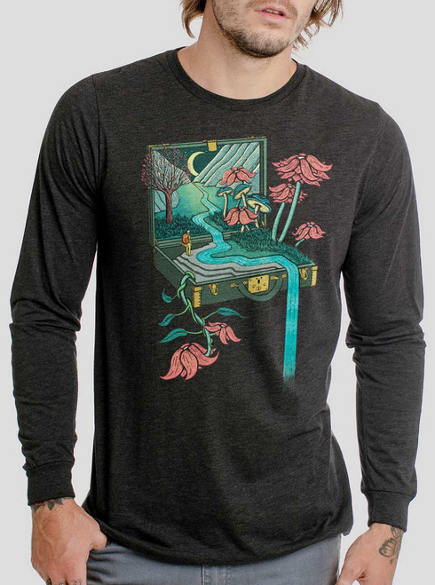 Traveling Suitcase - Multicolor on Heather Black Triblend Men's Long Sleeve