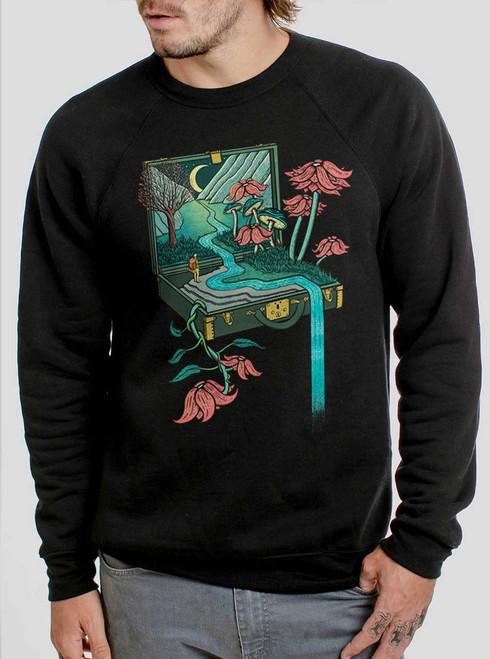 Traveling Suitcase - Multicolor on Black Men's Sweatshirt