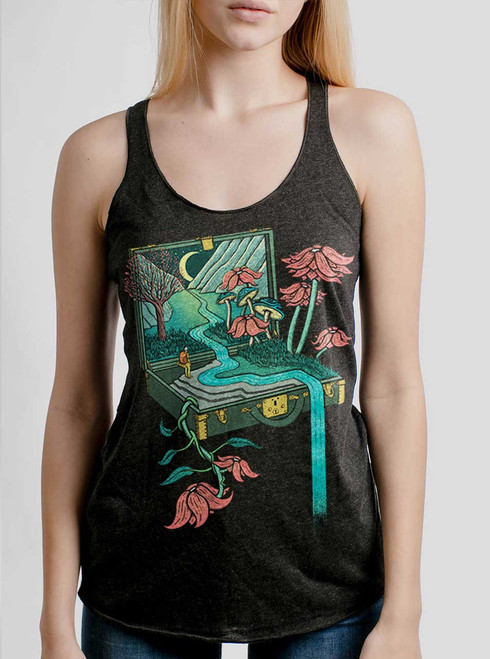 Traveling Suitcase - Multicolor on Heather Black Triblend Womens Racerback Tank Top