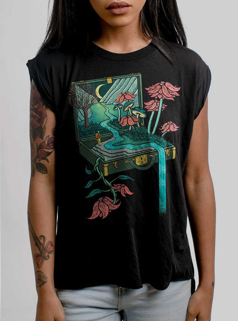 Traveling Suitcase - Multicolor on Black Women's Rolled Cuff T-Shirt
