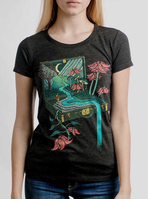 Traveling Suitcase - Multicolor on Heather Black Triblend Womens T-Shirt