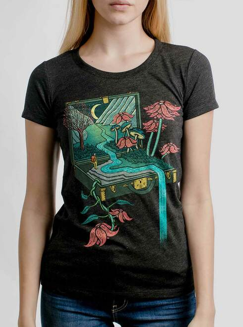 Traveling Suitcase - Multicolor on Heather Black Triblend Junior Womens T-Shirt