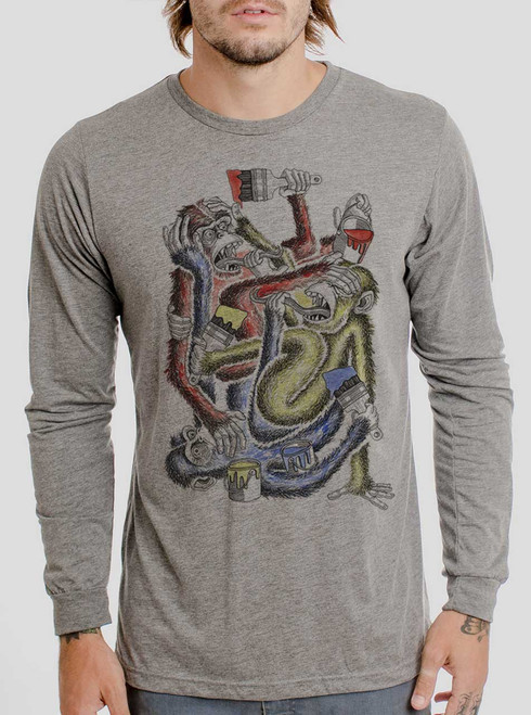 Know Evil - Multicolor on Heather Grey Triblend Men's Long Sleeve