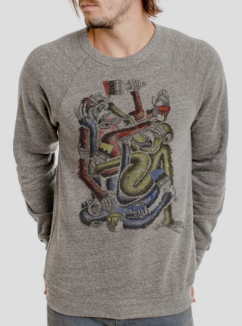 Know Evil - Multicolor on Heather Grey Triblend Men's Sweatshirt