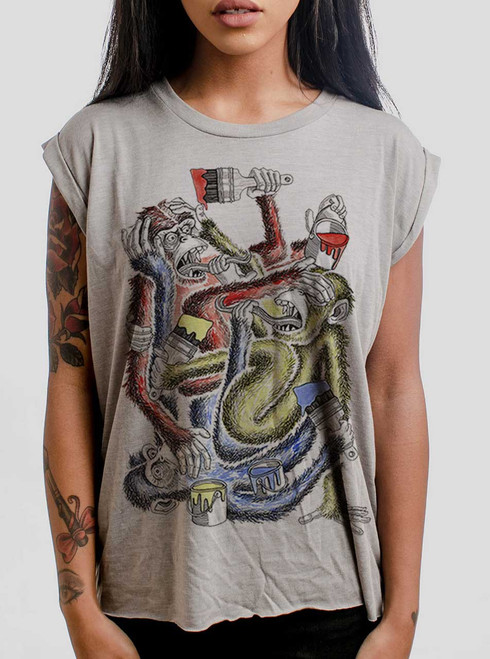 Know Evil - Multicolor on Heather Stone Women's Rolled Cuff T-Shirt