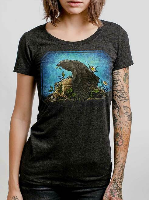 Crow  - Multicolor on Heather Black Triblend Womens T-Shirt