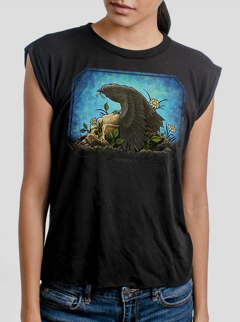 Crow  - Multicolor on Black Women's Rolled Cuff T-Shirt