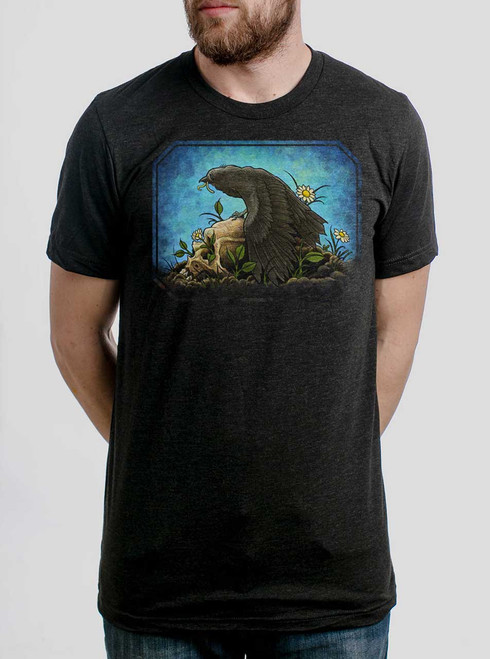 Crow  - Multicolor on Heather Black Triblend Mens T Shirt