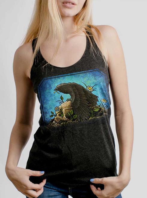 Crow  - Multicolor on Heather Black Triblend Womens Racerback Tank Top