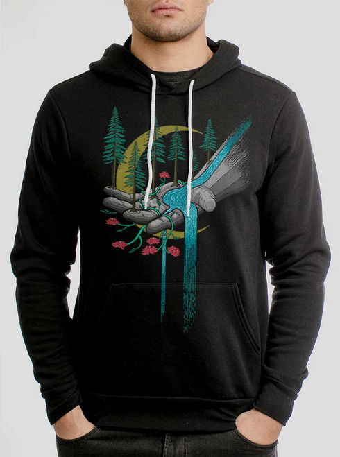 Hand of Nature  - Multicolor on Black Men's Pullover Hoodie