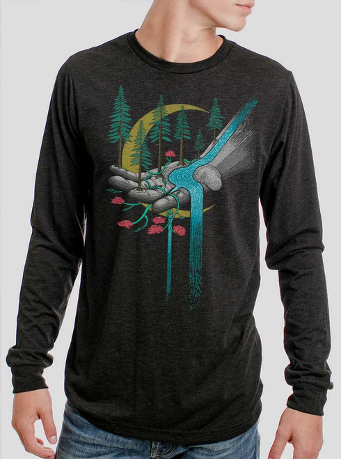 Hand of Nature  - Multicolor on Heather Black Triblend Men's Long Sleeve
