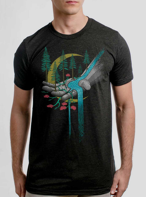 Hand of Nature - Multicolor on Heather Black Triblend Mens T Shirt