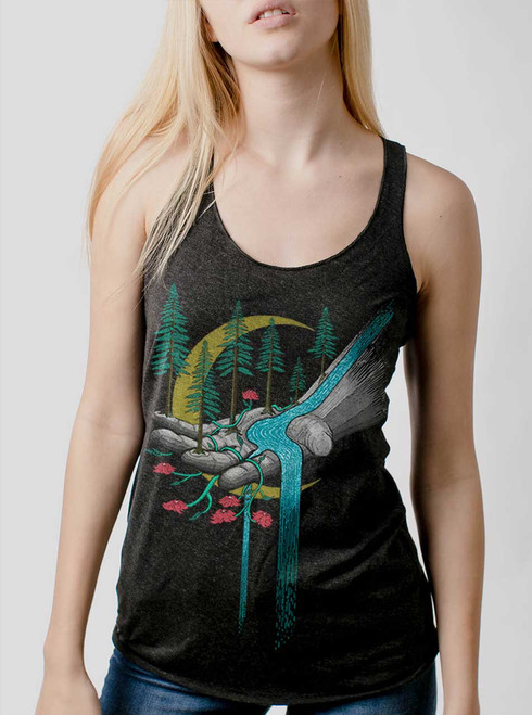Hand of Nature  - Multicolor on Heather Black Triblend Womens Racerback Tank Top
