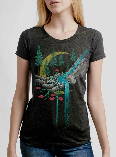 Hand of Nature - Multicolor on Heather Black Triblend Junior Womens T-Shirt