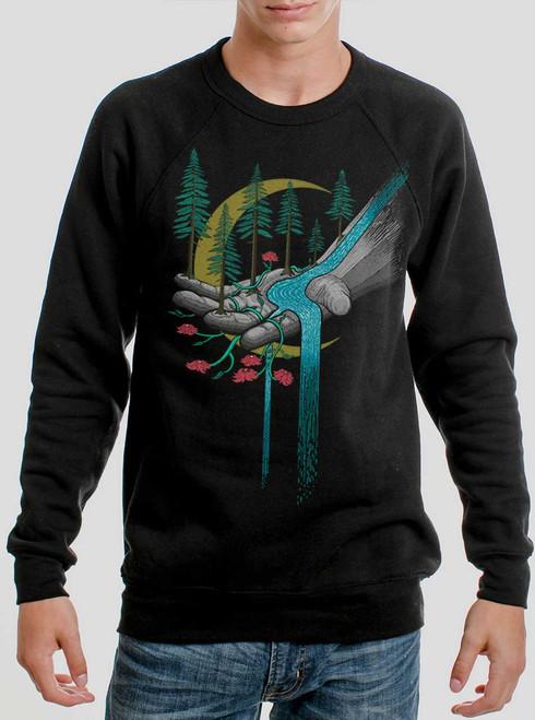 Hand of Nature - Multicolor on Black Men's Sweatshirt