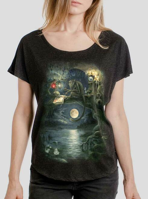 Ponder - Multicolor on Heather Black Triblend Womens Dolman T Shirt
