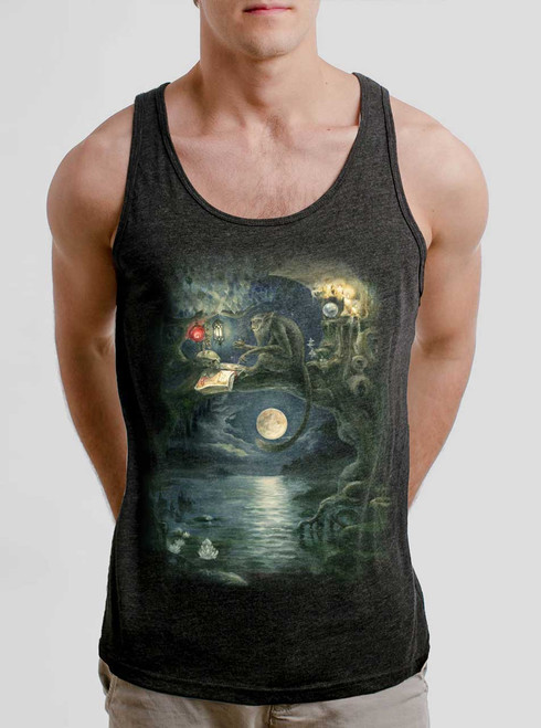Ponder - Multicolor on Heather Black Triblend Mens Tank Top