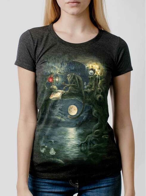 Ponder - Multicolor on Heather Black Triblend Womens T-Shirt