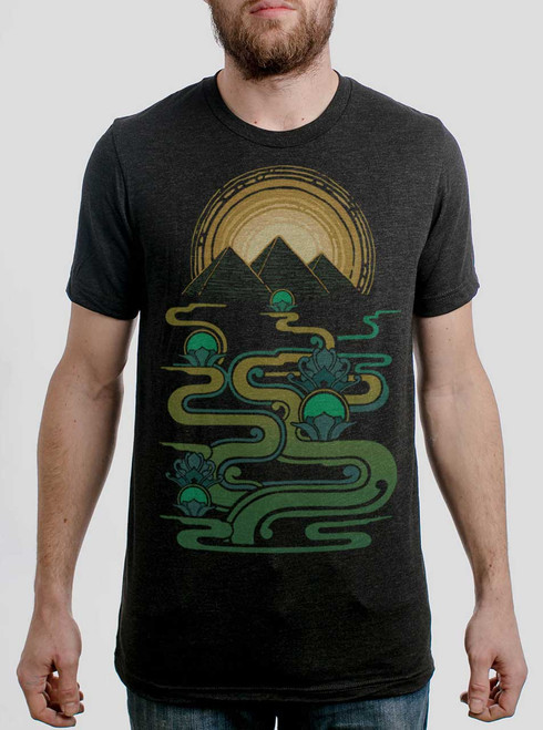 Pyramids  - Multicolor on Heather Black Triblend Mens T Shirt