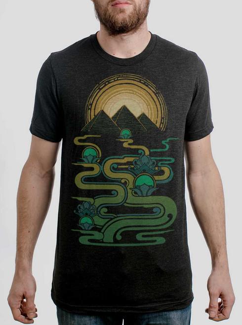 Pyramids  - Multicolor on Heather Black Triblend Mens T Shirt