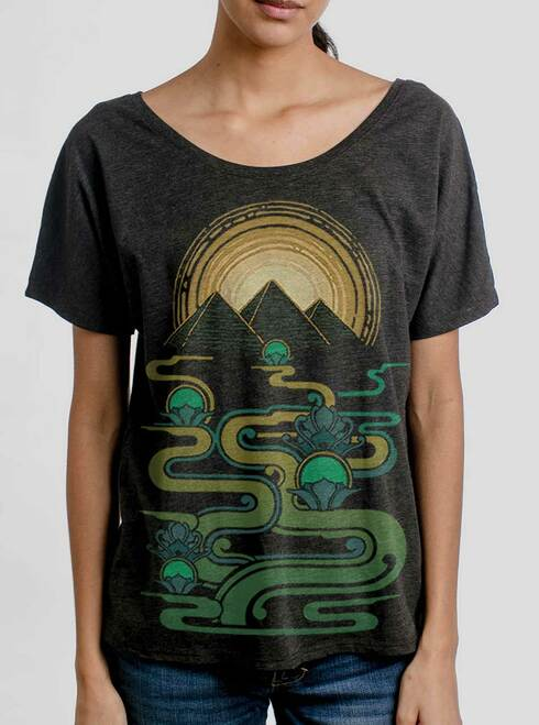 Pyramids - Multicolor on Heather Black Triblend Womens Dolman T Shirt