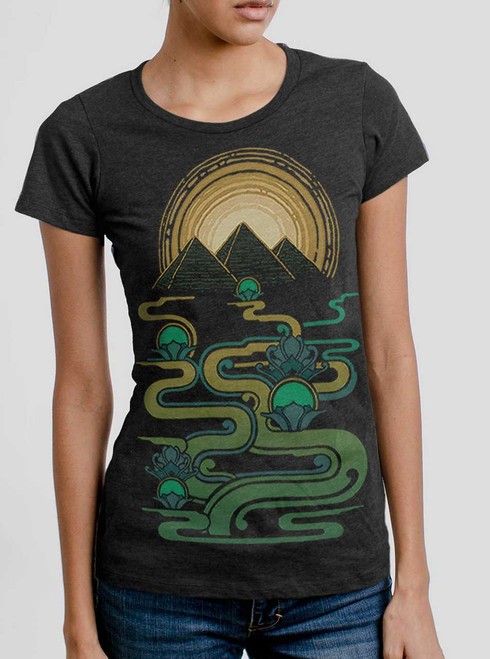 Pyramids - Multicolor on Heather Black Triblend Womens T-Shirt