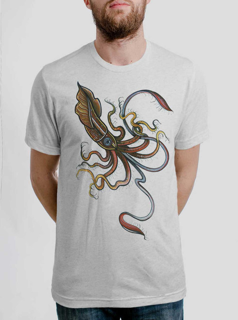 Squid - Multicolor on Heather White Triblend Mens T Shirt