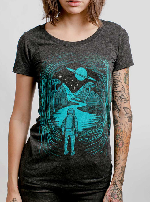 Another World  - Multicolor on Heather Black Triblend Womens T-Shirt
