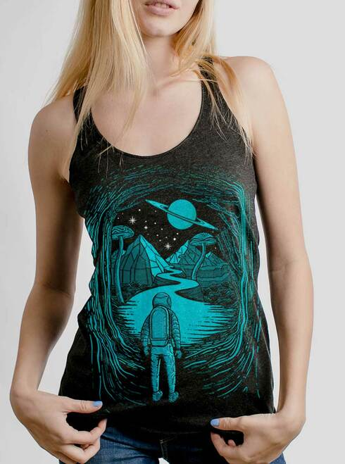 Another World  - Multicolor on Heather Black Triblend Womens Racerback Tank Top