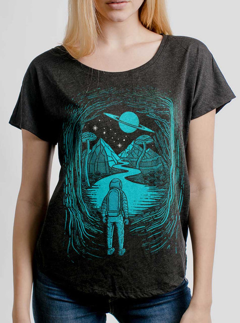 Another World  - Multicolor on Heather Black Triblend Womens Dolman T Shirt