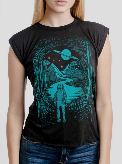 Another World - Multicolor on Black Women's Rolled Cuff T-Shirt