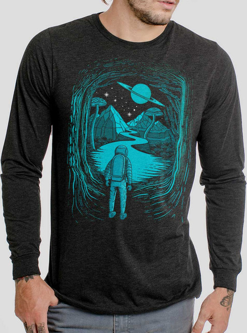 Another World - Multicolor on Heather Black Triblend Men's Long Sleeve