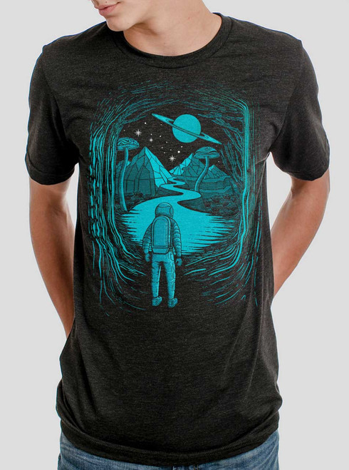 Another World - Multicolor on Heather Black Triblend Mens T Shirt