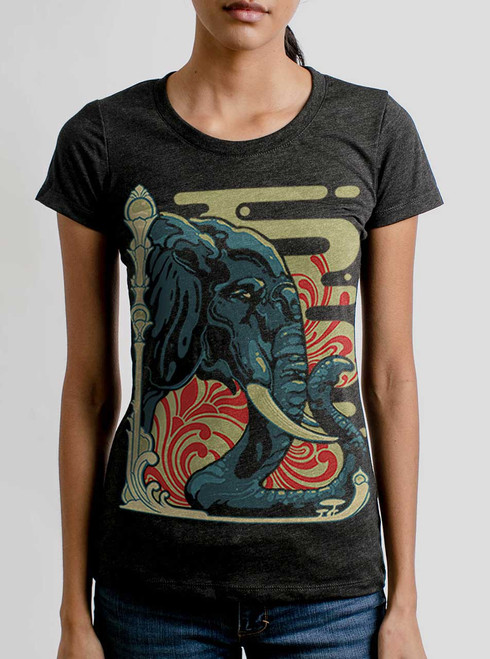 Elefante - Multicolor on Heather Black Triblend Womens T-Shirt
