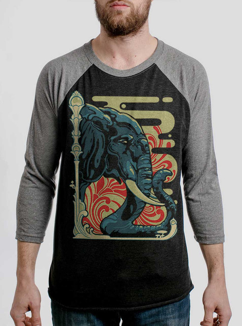 Elefante - Multicolor on Heather Black and Grey Triblend Raglan