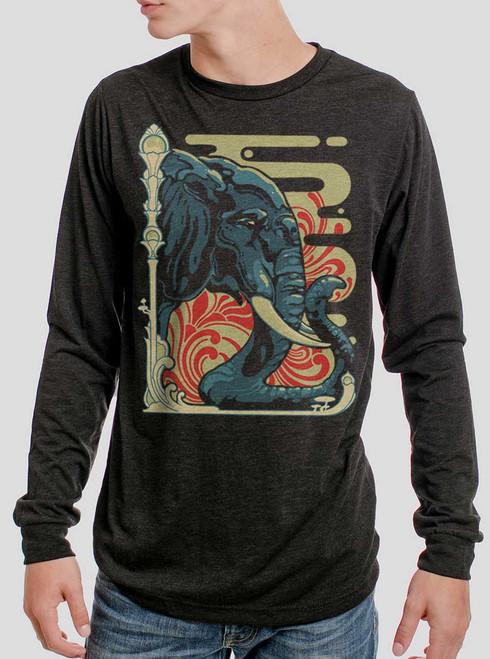 Elefante  - Multicolor on Heather Black Triblend Men's Long Sleeve