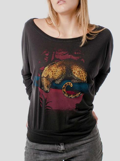 Leopard - Multicolor on Black Women's Long Sleeve Dolman